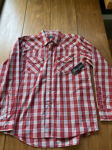 Wrangler Mens Pearl Snap Red Check Shirt - Large