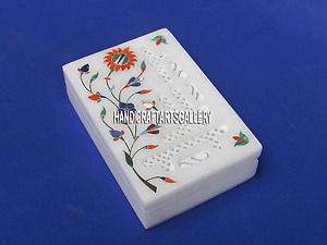 6''x4''x2'' White Marble Jewelry Box Floral Art Jali Work Home Decorative H3375