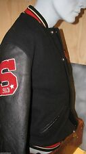 Schott NYC BLACK MOTO- Vintage Melton Wool &Leathers jacket  New w/tags 335 $