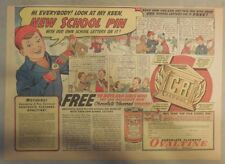 "Ovaltine Drink Ad: ""New School Pin Premium"" 1930's-1950's 11 x 15 inches"
