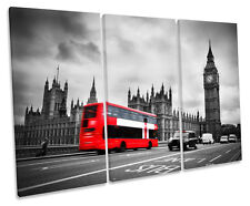 London Red Bus Big Ben City TREBLE CANVAS WALL ART Box Framed Picture