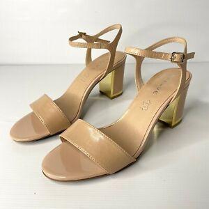 Basque Sz 38 7 NEW Beige Nude Gold Leather Open Toe Strappy Buckle Block Heel