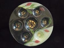 """Passover Sedar Plate Doris Glass Art Made in Israel Judiasm 13"""" Mint Condition"""