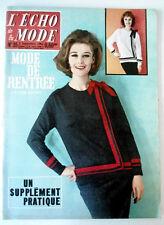 L'echo de la mode n°35 du 2/09/1962  Mode de rentrée