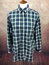 Alfred Dunner USA Long Roll Up/Button Up Sleeve Navy Plaid Top Shirt Women's 10