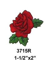 """#3715 2"""" Red Rose Flower Embroidery Iron On Applique Patch"""