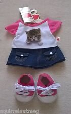 DESIGN A BEAR CASUAL DENIM OUTFIT WITH KITTEN MOTIF TEDDY CLOTHES NEW