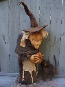 Primitive OLD CRONE WITCH & CAT Halloween DOLL Pattern