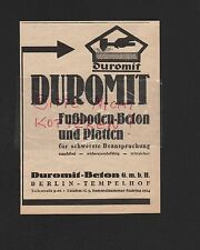 BERLIN-TEMPELHOF, Werbung 1935, Duromit-Beton GmbH Fußboden-Beton Platten