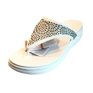 CROCS Monterey Diamante Wedge Flip Flop Womens 10 White