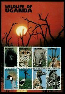 Uganda 1996 - WILDLIFE OF UGANDA - Sheet of 8 (Scott #1394) - MNH