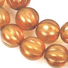 25 Czech Glass Melon Round Beads 8mm - Halo - Sandalwood