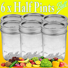 6 x Ball Mason Half Pint (240ml) Regular Mouth Jars and Lids BPA FREE Canning
