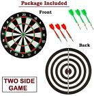 Wooden 17 inch Double Faced Tournament Bristle Dartboard Game Dart with 6 Needle