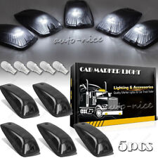 5x Roof Cab Marker Light Smoke Cover + White LED For GMC Chevy C1500 C2500 C3500