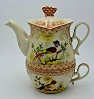 Vintage One Person Lidded Teapot with Cup Birds Marked