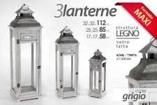 SET 3 LANTERNE STRUTTURA IN LEGNO GRIGIO VETRO E LATTA KMK-738876