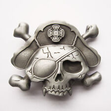 NEW WESTERN PIRATE SKULL 3-D SILVER BONES PATCH  BELT BUCKLE !!