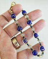 """Vtg Sommerso Glass Navy Blue Bead Bracelet Knotted 8.25"""" Gold tone Lobster Clasp"""