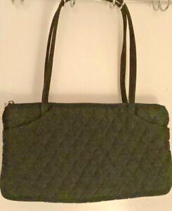 "Vera Bradley Black Microfiber Quilted Double Strap Shoulder Bag, 7"" X 12.5"" EUC"