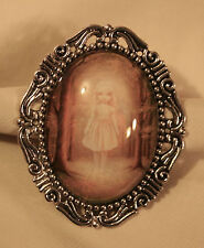 Girl in the Woods Brooch Pin Lovely Etch Swirl Rim Silvertone Mysterious Goth
