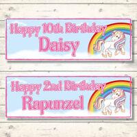 2 PERSONALISED UNICORN RAINBOW BIRTHDAY BANNERS - ANY NAME - ANY AGE