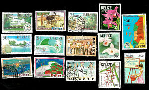 Belize Postally Used Stamps from 1980s Maps, Flowers, People, etc.