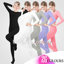 Unisex Lycra Spandex Unitard Round Neck Long Sleeves Full Foot Elastane Bodysuit