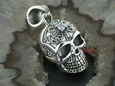 Ketten Anhänger Totenkopf Skull mit Tribal Gothic Celtic Silber 925