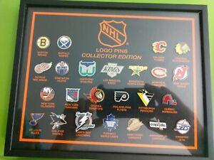 90s Vintage NHL Hockey Team Collectible 24 Logo Pin Framed Set hockey