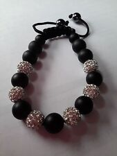SHAMBALLA BRACELET TRESOR CZECH CRYSTAL  DISCO BEADS  - BLACK AND WHITE BEADS