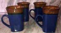 Royal Norfolk Blue/Brown Stoneware Coffee Mugs Dinnerware Cups-Set Of 4-SHIP24H
