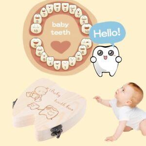 Baby Tooth Wooden Box Milk Teeth Organizer Storage Boys Girls Save Souvenir Case