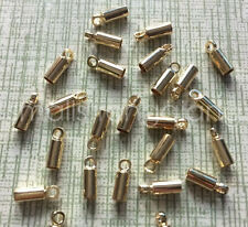 50 pcs KC gold color Cord Ends Beads Jewelry Findings 3x9mm