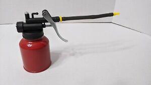 $2.95 NEW Metal RED Oil Can Cast Body FLEX Spout Thumb Pump Workshop Oiler