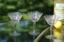 Vintage Acid Etched Cocktail Martini Glasses, Set of 4, Vintage Champagne Glass