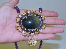 GENUINE 302+cts Rainbow Obsidian, Black & Fire Opal Amethyst Necklace Silver 925