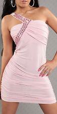 Sexy Minikleid mit einem Träger One Shoulder Steinchen Abendkleid Größe 34/36