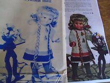 """T4 PATRON POUPEE """"MARIE FRANCOISE"""" M & TRAVAUX"""" ROBE D'INTERIEUR TRICOTEE 1967"""