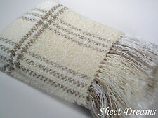 Churchill Weavers Handwoven Acrylic Boucle Throw Blanket Natural White Sand New