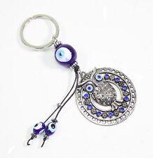 Blue Evil Eye Owl Keychain Blessing Protection Religious Charm Gift US Seller