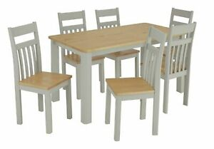 Bournemouth Solid Wood Table & 6 Two Tone Chairs