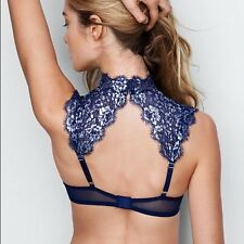 Victoria's Secret Dream Angels Metallic Royal Blue Lace High Neck Bra 32DD