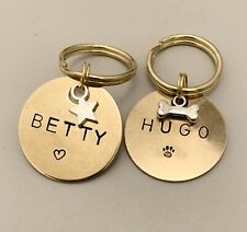 Pet Dog Cat Id Brass Disc Tag Personalised Handstamped - 25mm