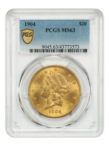 1904 $20 PCGS MS63 - Liberty Double Eagle - Gold Coin