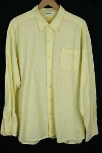 Tommy Bahama Mens sz XXL Yellow Easy Breezer 100% Linen Long Sleeve Btn Up Shirt