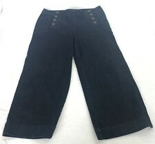Talbots Heritage Wide Crop Clam Digger Flare Leg Side Zip Jeans 10 / 30 Nautical