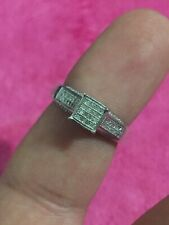 Sterling Silver Ladies Diamond Ring Size 7 With Side Diamonds