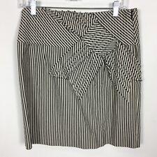Taikonhu Anthropologie Skirt 6 Cream Gray Ticking Fabric Bow Lining Side Zip