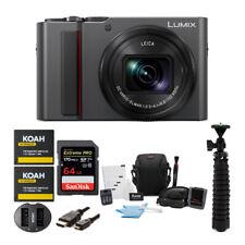 Panasonic LUMIX ZS200 4K Digital Camera Silver with 64GB Accessory Bundle